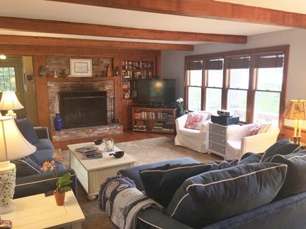 North Chatham Cape Cod vacation rental - Family room with new couches and pine flooring this year