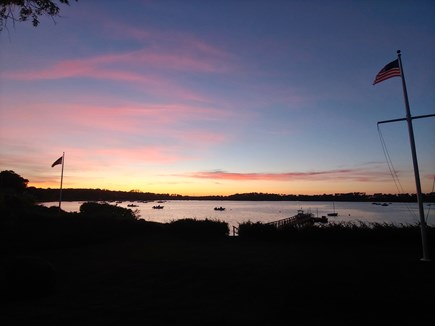 North Chatham Cape Cod vacation rental - Pink brushstrokes over the pond viewed from the hammock