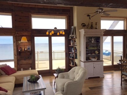 South Wellfleet on the Ocean Cape Cod vacation rental - Living room area and deck for entertaining