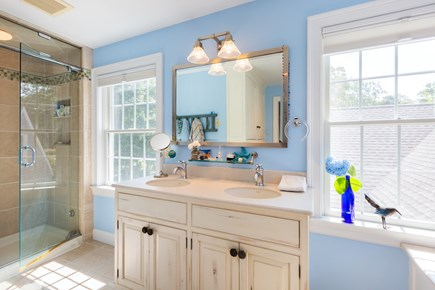 Chatham Cape Cod vacation rental - Master bath with steam shower and soaking tub