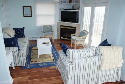 Sandwich, Spring Hill Beach Cape Cod vacation rental - Living room w/ gas fireplace