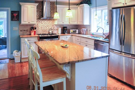 Harwich Port Cape Cod vacation rental - Kitchen with Island, Granite Counter top