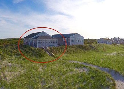 East Sandwich Beach Cape Cod vacation rental - Aerial view of cottage in dunes