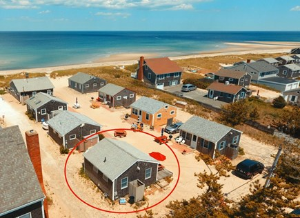 East Sandwich Beach Cape Cod vacation rental - Aerial view of cottage and beach