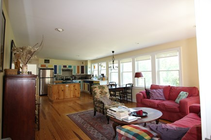 Truro Cape Cod vacation rental - Living Room towards Dining and Kitchen