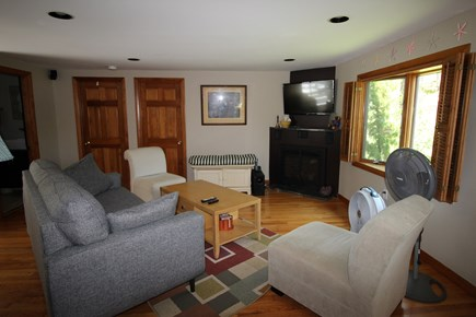 Wellfleet Cape Cod vacation rental - Living Room with Comfortable Couch, Chairs and TV