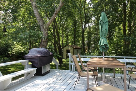 Wellfleet Cape Cod vacation rental - Deck with Dining Table,Chairs,Umbrella;Large Grille