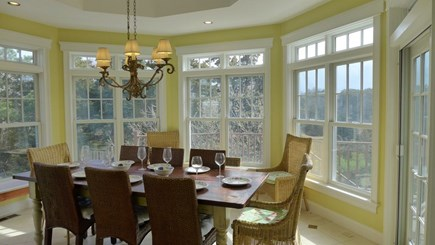 Orleans Cape Cod vacation rental - Dining room overlooking pool and conservation area
