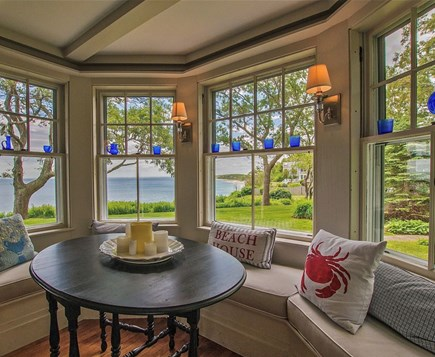 Plymouth, Manomet Bluffs MA vacation rental - Ocean views from gorgeous 100 yr-old bay window w wavy glass,
