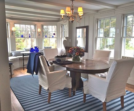 Plymouth, Manomet Bluffs MA vacation rental - Gracious airy oceanfront dining room, beams, windows all around