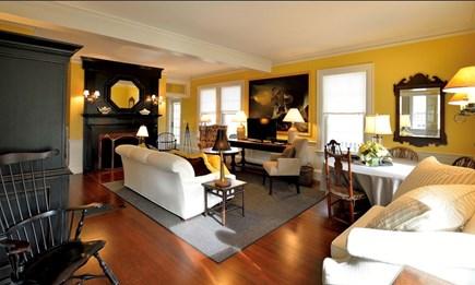 Plymouth Historic District MA vacation rental - Spacious, elegant, comfortable living room, fireplace, wet bar