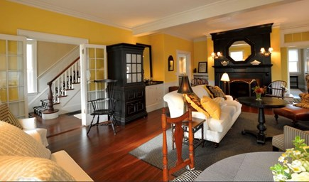 Plymouth Historic District MA vacation rental - View looking back at wet bar, foyer, fp, downstairs master suite