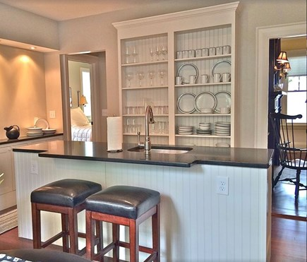 Plymouth Historic District MA vacation rental - Granite island, custom cabinets in gorgeous kitchen