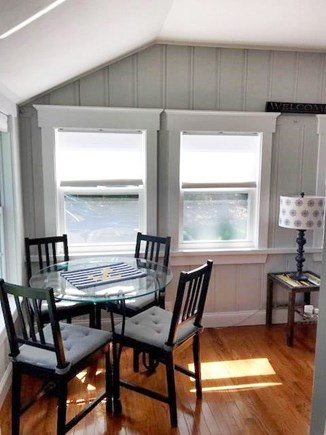 Dennis Port Cape Cod vacation rental - Dining area in the sunroom.