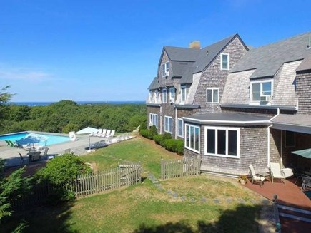 West Falmouth Cape Cod vacation rental - View of backyard with pool
