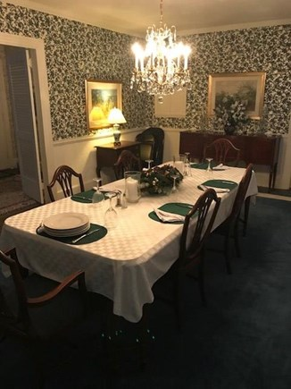 West Falmouth Cape Cod vacation rental - Dining Room set for Thanksgiving Meal