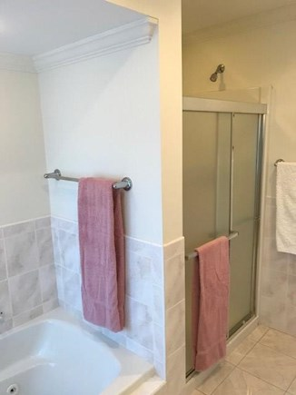 West Falmouth Cape Cod vacation rental - 2nd floor bathroom with whirlpool tub and shower