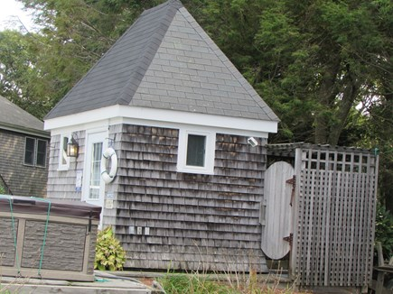 West Falmouth Cape Cod vacation rental - Pool house-has sink, refrigerator, toilet.Outdoor shower, hot tub
