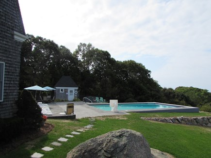 West Falmouth Cape Cod vacation rental - Walkway to pool from covered porch