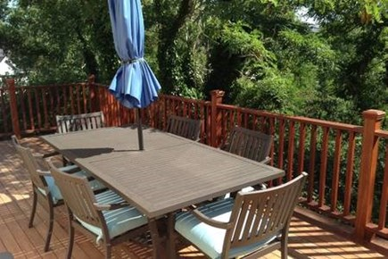Provincetown, West End Cape Cod vacation rental - Table on seats 6 on the spacious mahogany deck