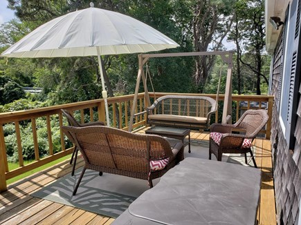North Chatham Cape Cod vacation rental - Comfortable deck seating w/ views of large yard/conservation