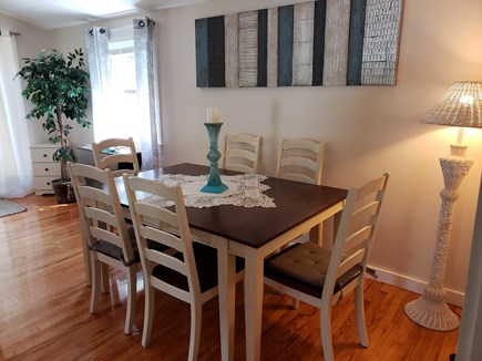 North Chatham Cape Cod vacation rental - Craftsman dining table for six with inserts for more!