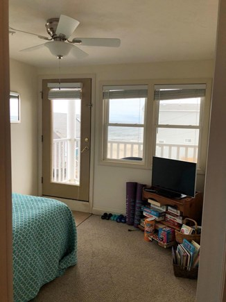 Plymouth, White Horse Beach MA vacation rental - The den with ocean views, games, a tv, & workout equipment!