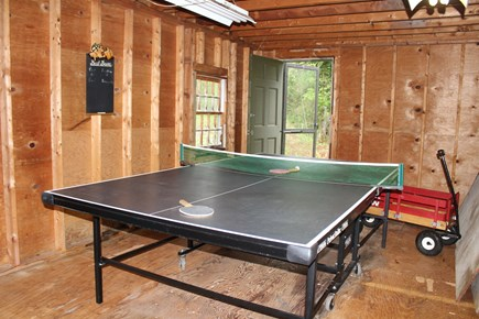 In The Heart of Brewster Cape Cod vacation rental - Ping pong and corn hole challenge and a wagon for tiny guests.