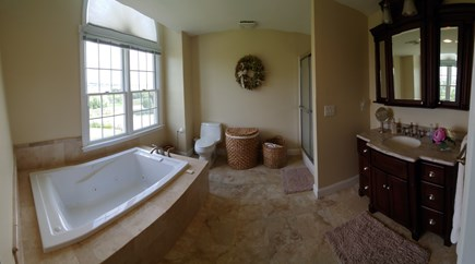West Hyannisport Cape Cod vacation rental - Bathroom with jacuzzi attached to second floor bedroom