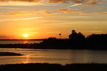 West Hyannisport Cape Cod vacation rental - One of the many beautiful sunsets from the back yard.