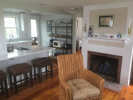 North truro Cape Cod vacation rental - Main open living area with breakfast bar for four people