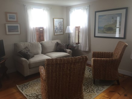 North truro Cape Cod vacation rental - Main living area with new couch, chairs and TV