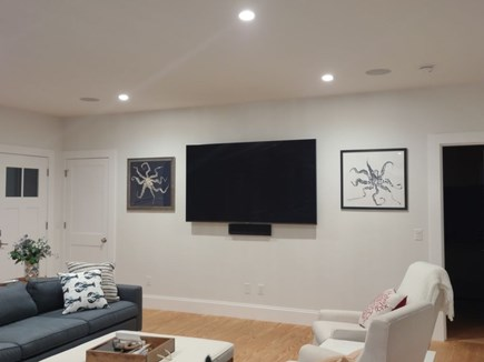 Yarmouthport Cape Cod vacation rental - 80 inch flat screen TV in Great Room area with cable and netflix