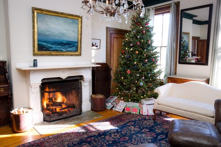 Dennis Cape Cod vacation rental - Beautiful living room with wood-fire chimney