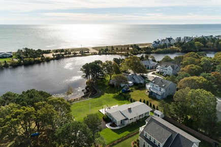 Popponesset, New Seabury Cape Cod vacation rental - Drone shot of the home showing Deans Pond and Sandy Beach