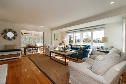 Popponesset, New Seabury Cape Cod vacation rental - Living Room with water views of Pond & Beach