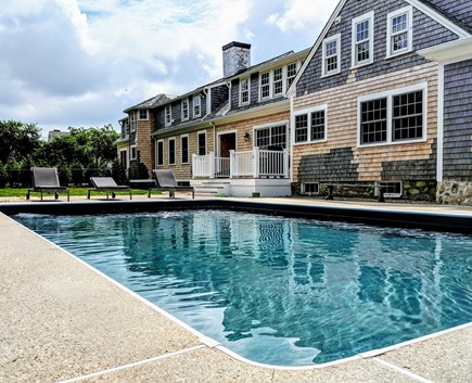 East Dennis Cape Cod vacation rental - Rear yard with heated saltwater pool