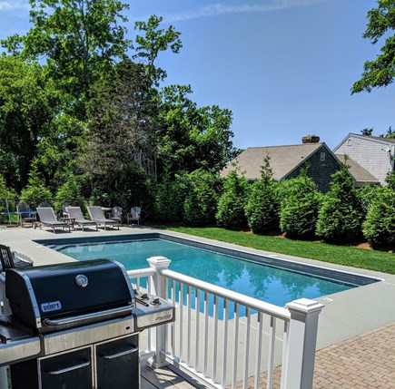 East Dennis Cape Cod vacation rental - Rear deck, Patio and Heated Salt Water Pool