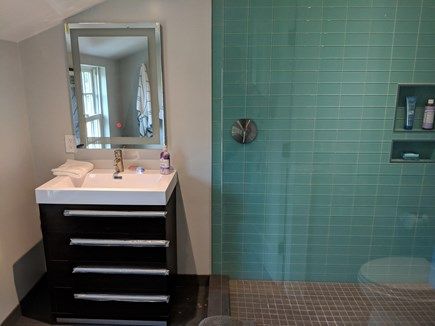 East Dennis Cape Cod vacation rental - Sample Bathroom with glass tile shower
