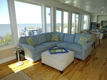 Eastham Cape Cod vacation rental - Living room with sectional couch and flat screen TV