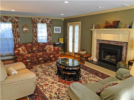 Brewster Cape Cod vacation rental - Fabulous Living Room with French doors and gas fireplace