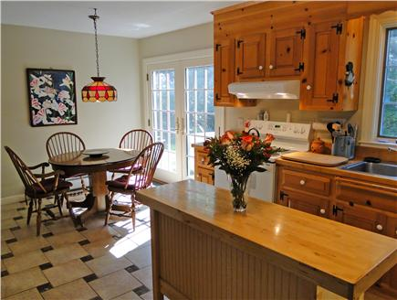 Brewster Cape Cod vacation rental - Eat-In Country Kitchen with French doors to back yard