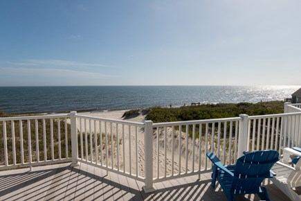 West Dennis Cape Cod vacation rental - Upstairs deck view of the beach and Nantucket Sound