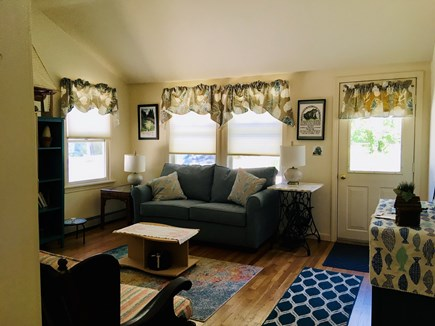 """Brewster Cape Cod vacation rental - Newly redecorated living room, full sofa bed, 40"""" TV."""