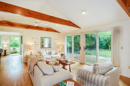 Brewster Cape Cod vacation rental - Great Room with Twin Sliders Overlooks the Patio