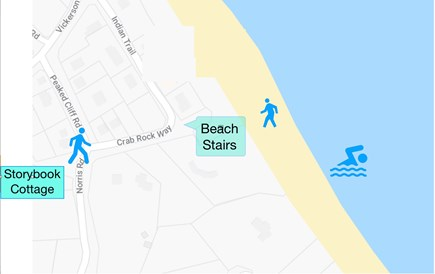 Sagamore Beach Sagamore Beach vacation rental - Diagram of the short walk to the beach
