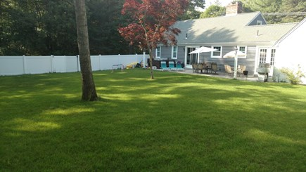 centerville Centerville vacation rental - Back yard w/large hot tub, cobblestone deck, tec grill.