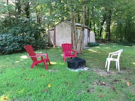 North Falmouth Cape Cod vacation rental - Uniquely private back yard w/ access to wooded path to Dunkin'