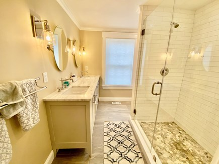North Falmouth Cape Cod vacation rental - Master bathroom with dual vanity and pebble floor shower