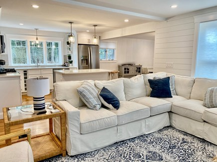North Falmouth Cape Cod vacation rental - Open concept floor plan with shiplap accents.